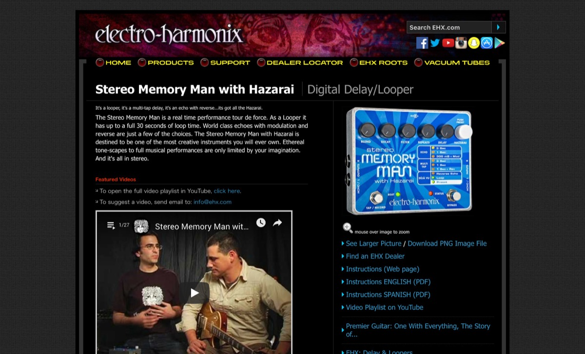 EHX.com | Stereo Memory Man with Hazarai - Digital Delay/Looper | Electro-Harmonix