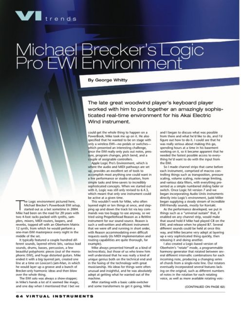 Michael Brecker's Logic Pro EWI Environment by George Whitty