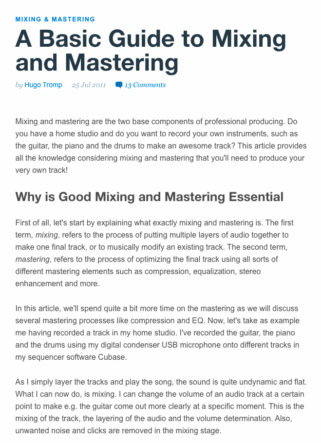 A Basic Guide to Mixing and Mastering