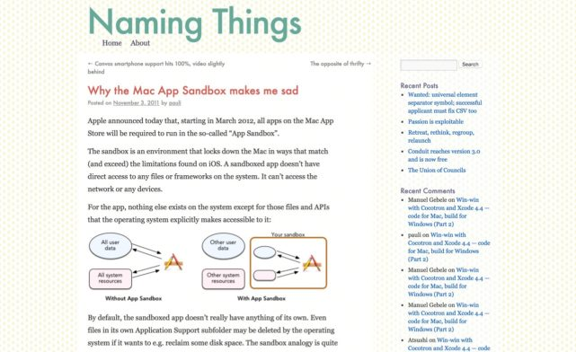 Why the Mac App Sandbox makes me sad | Naming Things(アーカイブ)