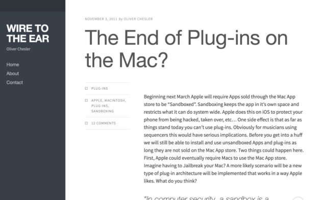 The End of Plug-ins on the Mac? | wire to the ear(アーカイブ)