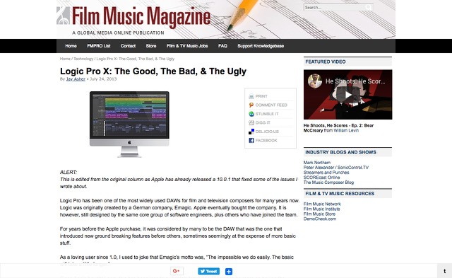 Logic Pro X: The Good, The Bad, & The Ugly :: Film Music Magazine