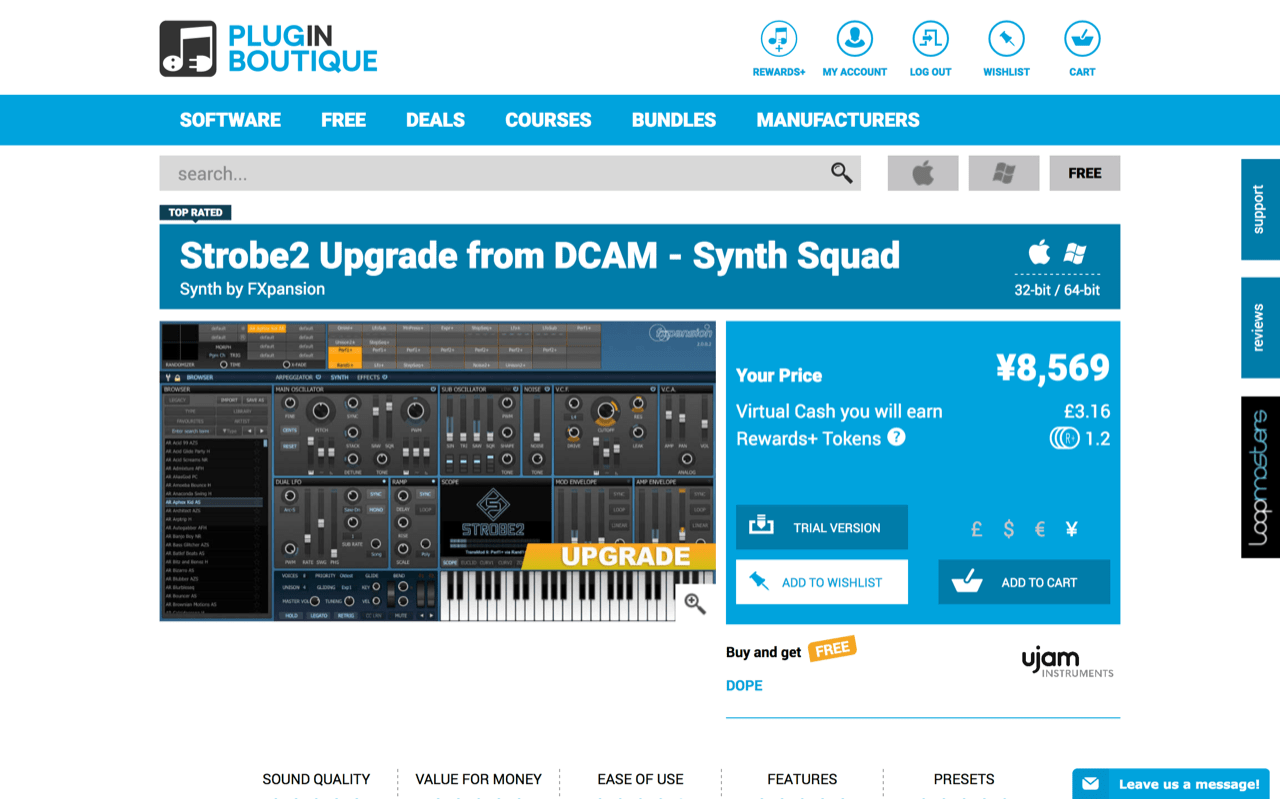 Strobe2 Upgrade from DCAM - Synth Squad Synth by FXpansion