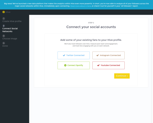Hive.co : Connect your social accounts