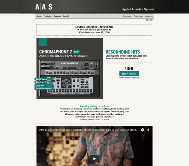 AAS Chromaphone 2 acoustic object synthesizer plug-in VST AU AAX RTAS
