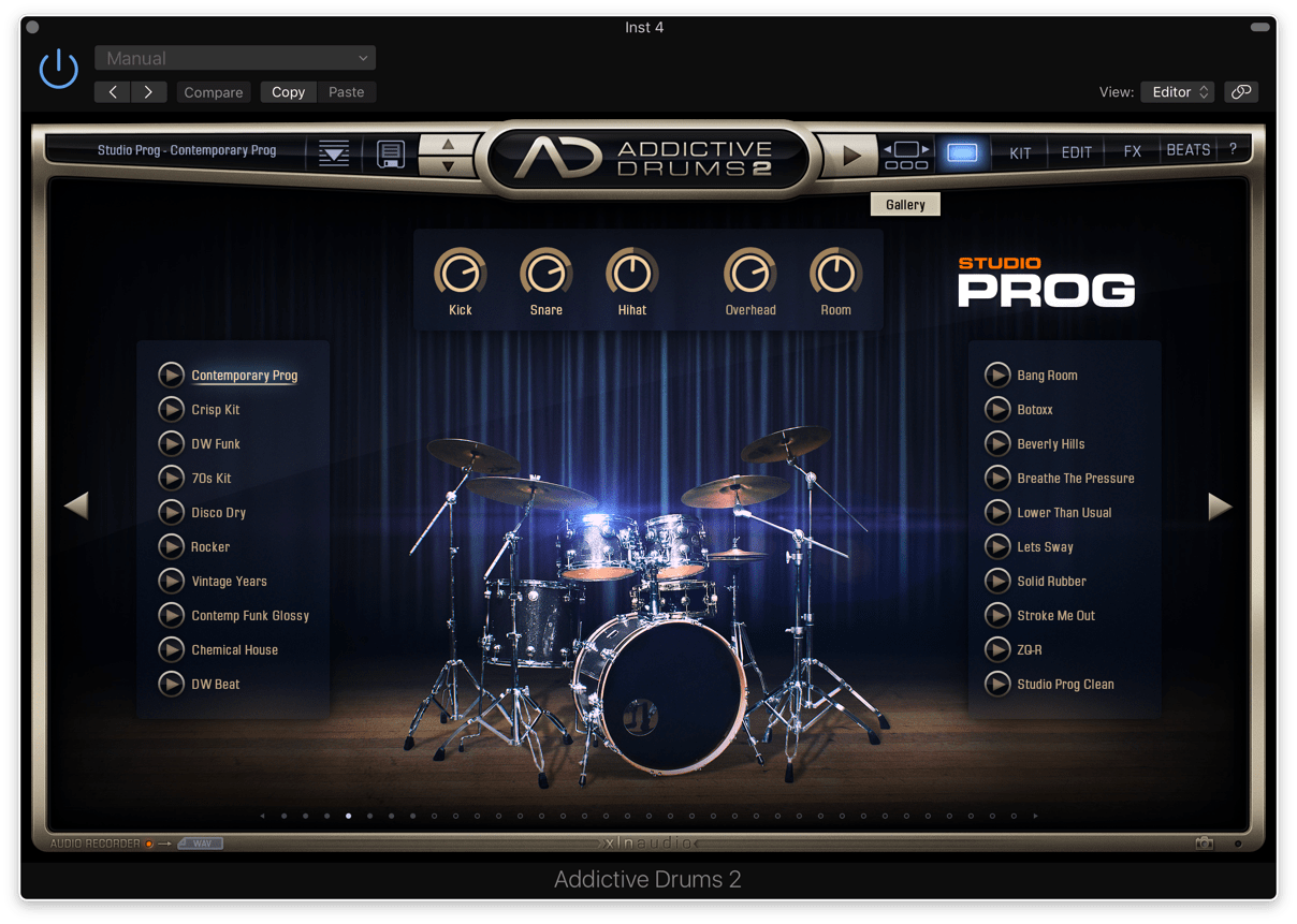 XLN Audio Addictive Drums 2のオモテ面