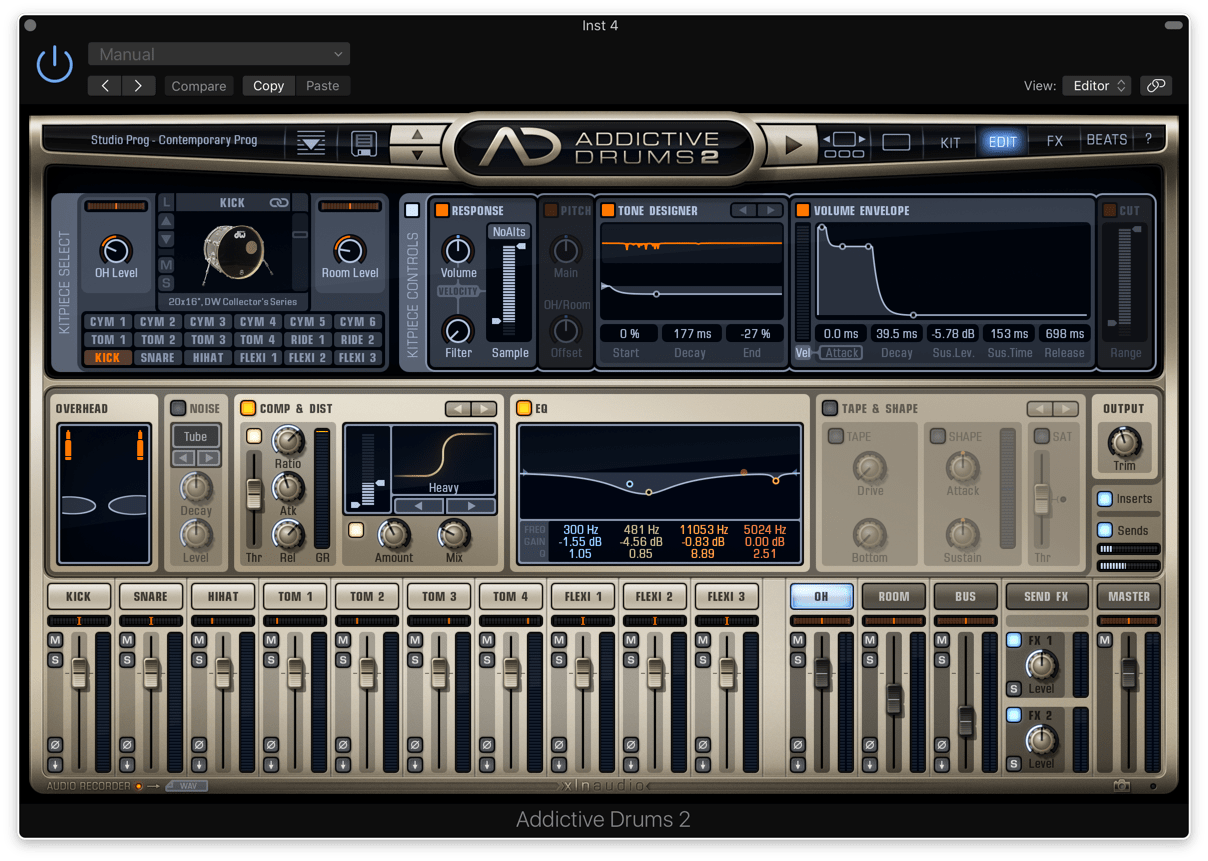 XLN Audio Addictive Drums 2のMixer