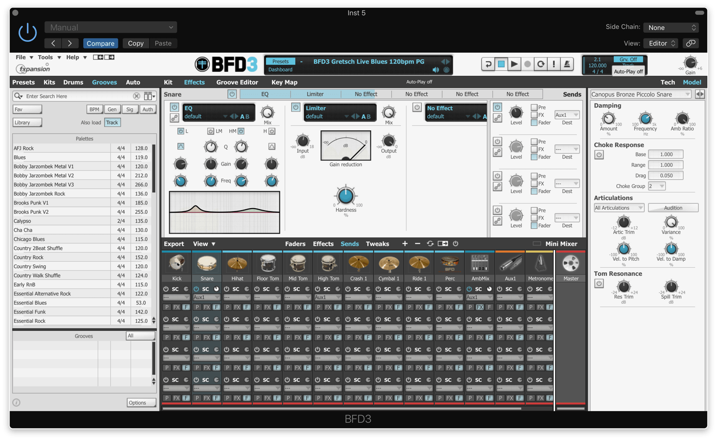 fxpansion BFD3のMixer等