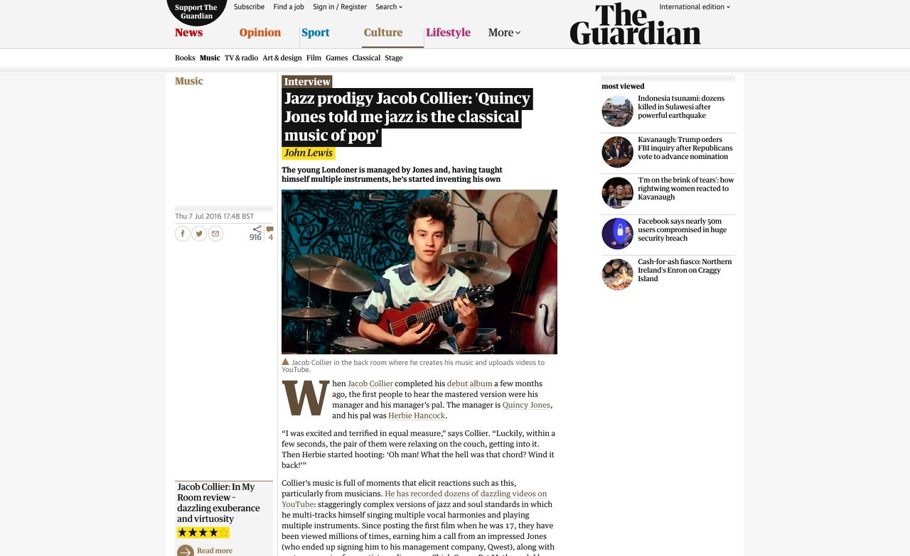 Jazz prodigy Jacob Collier: 'Quincy Jones told me jazz is the classical music of pop' | Music | The Guardian