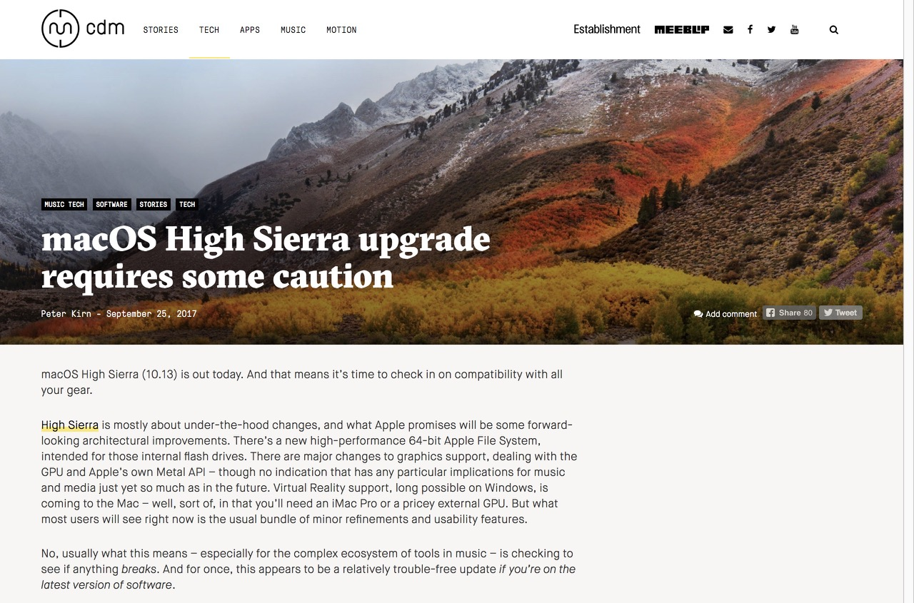 macOS High Sierra upgrade requires some caution - CDM Create Digital Music
