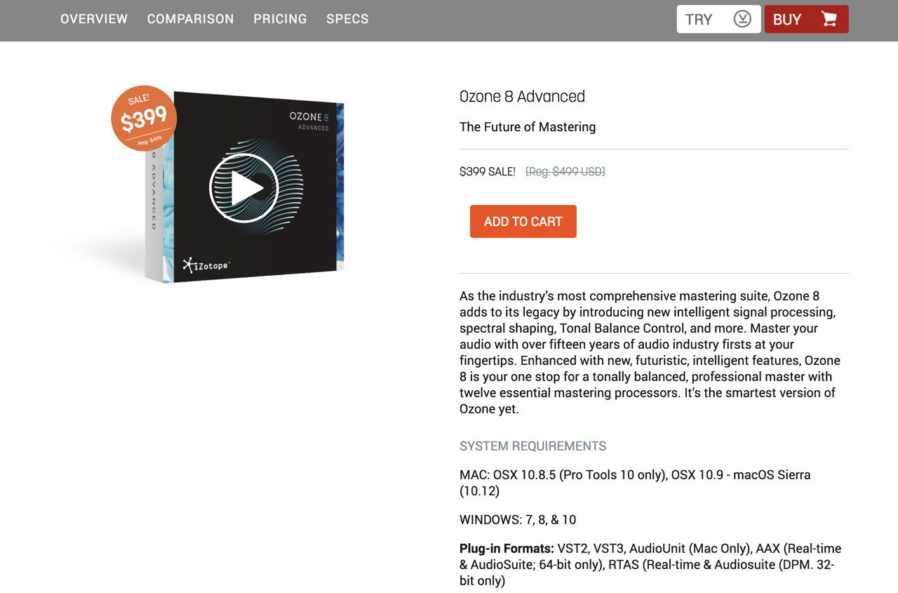 iZotope Ozone 8 Advanced | Audio Mastering Plug-in Software