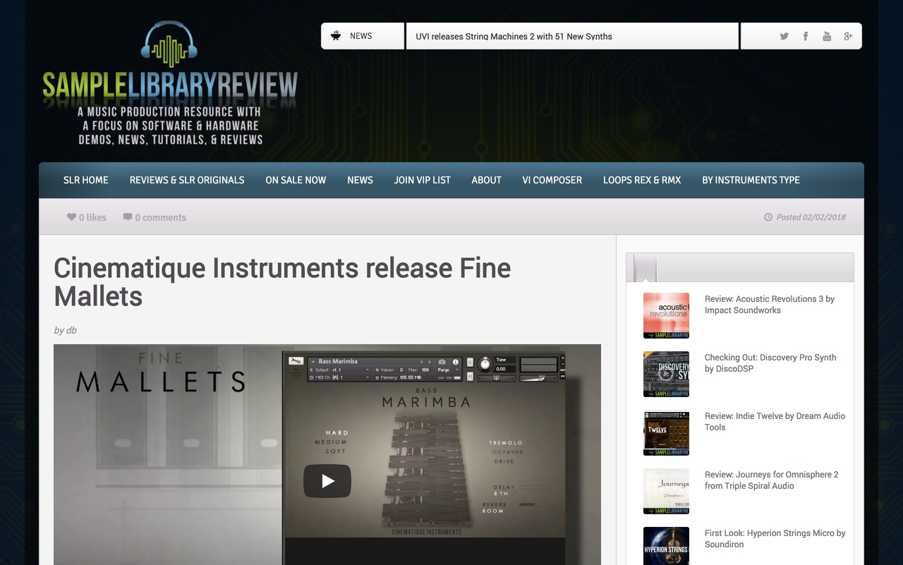 Cinematique Instruments release Fine Mallets - Sample Library Review