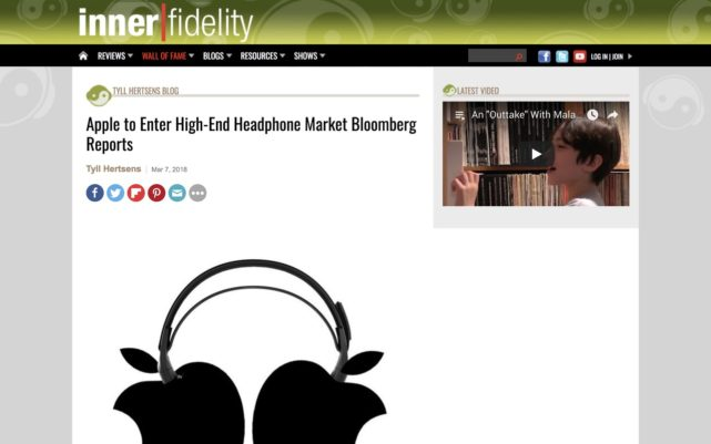 Apple to Enter High-End Headphone Market Bloomberg Reports | InnerFidelity