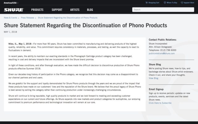 Shure Statement Regarding the Discontinuation of Phono Products | Press Releases | Shure Americas