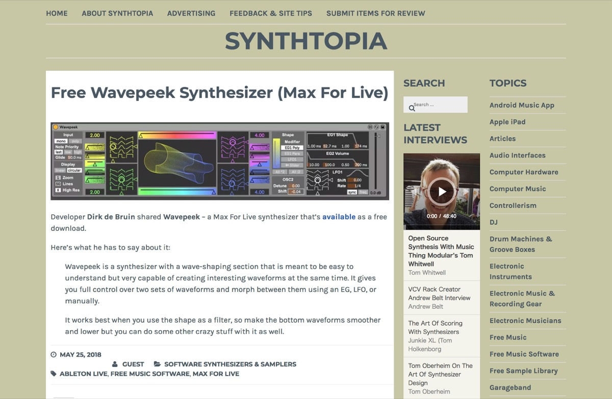 Free Wavepeek Synthesizer (Max For Live) – Synthtopia