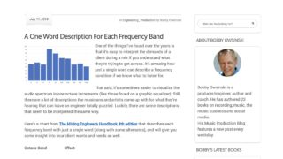 A One Word Description For Each Frequency Band - Bobby Owsinski's Music Production Blog