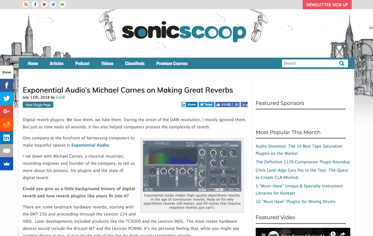 Exponential Audio's Michael Carnes on Making Great Reverbs — SonicScoop