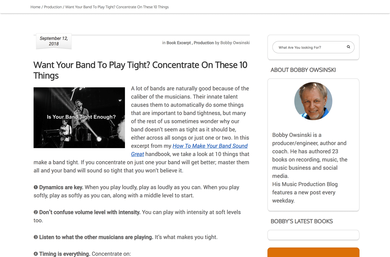 Want Your Band To Play Tight? Concentrate On These 10 Things - Bobby Owsinski's Music Production Blog