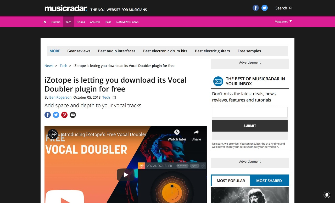 iZotope is letting you download its Vocal Doubler plugin for free | MusicRadar