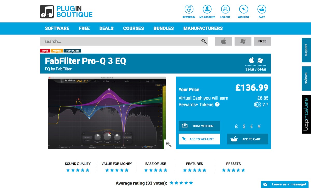 "FabFilter ""Pro-Q 3 EQ""(Plugin Boutique)"