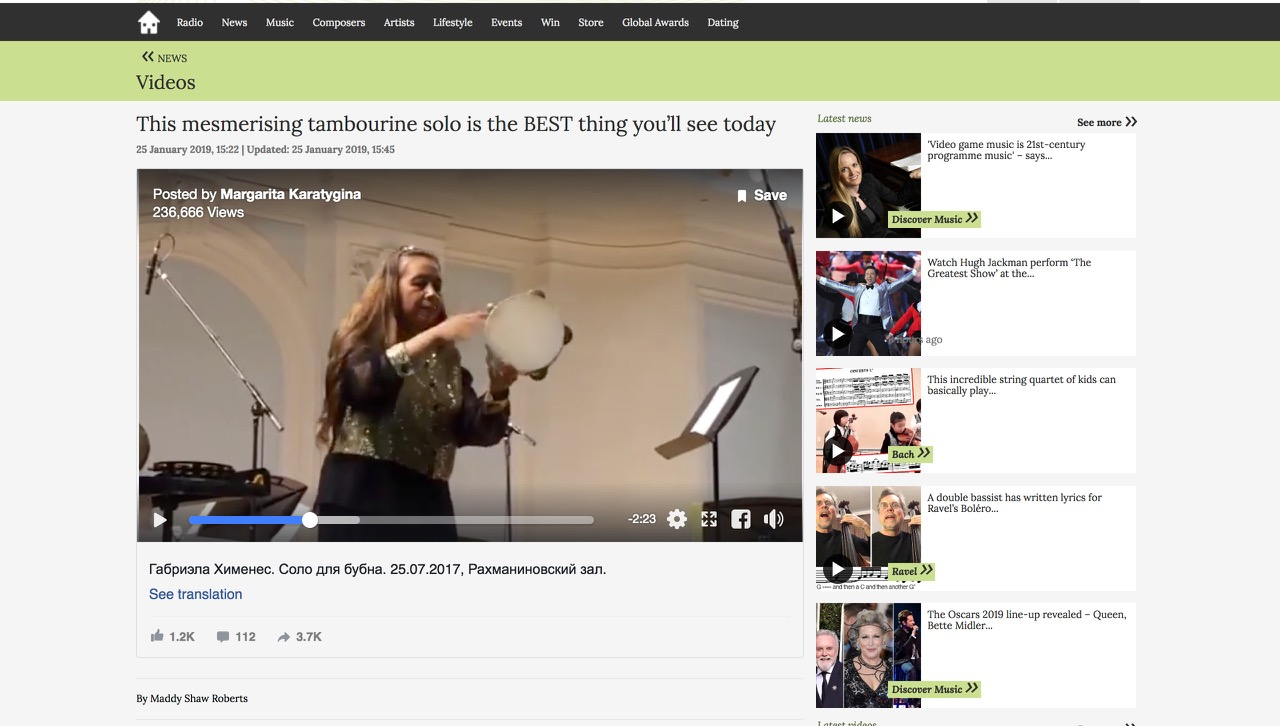This mesmerising tambourine solo is the BEST thing you'll see today - Classic FM