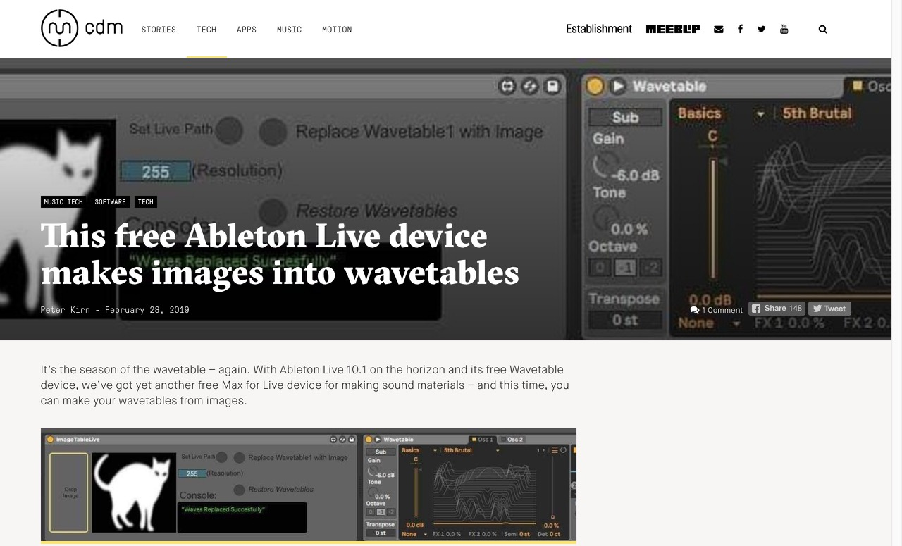 This free Ableton Live device makes images into wavetables - CDM Create Digital Music