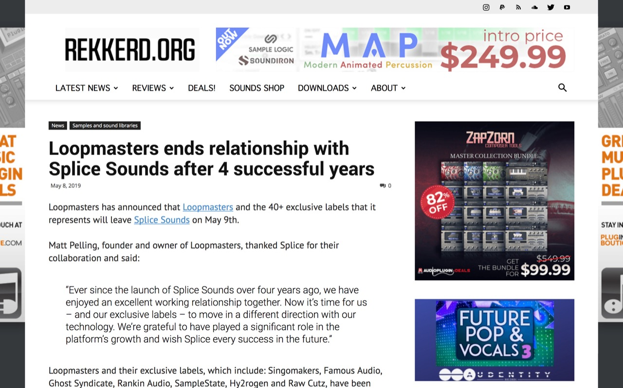 Loopmasters ends relationship with Splice Sounds after 4 successful years