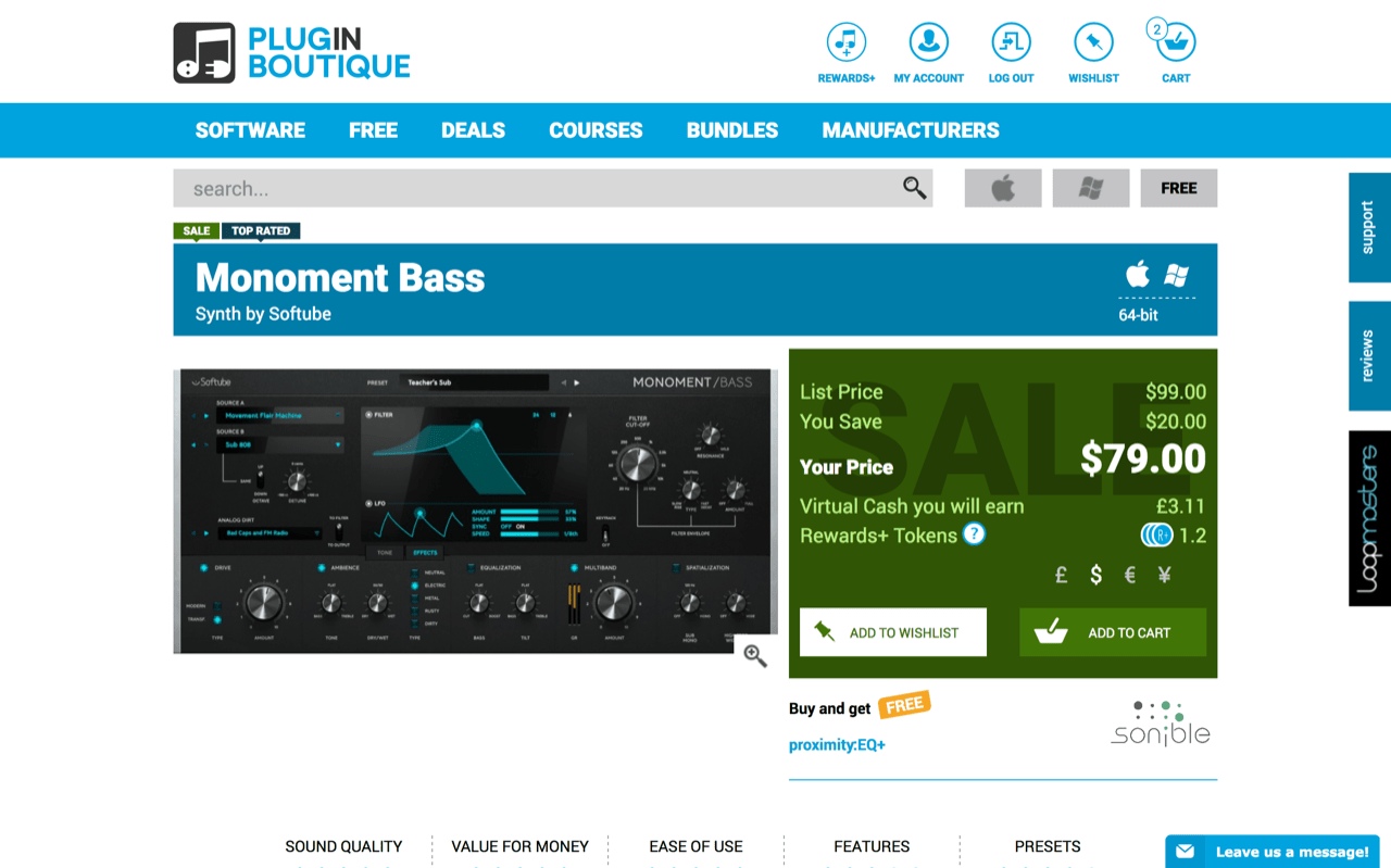 Softube : Monoment Bass(Plugin Boutique)