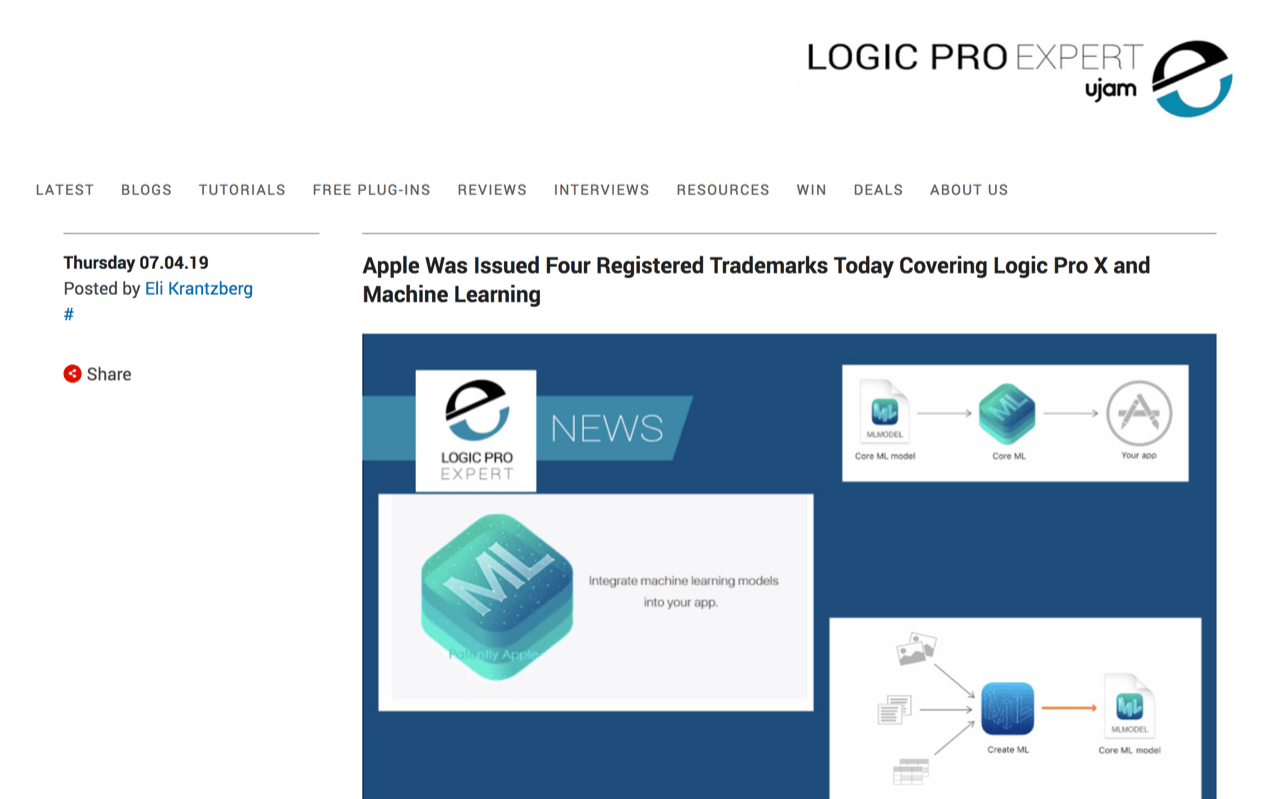 Apple Was Issued Four Registered Trademarks Today Covering Logic Pro X and Machine Learning | Logic Pro
