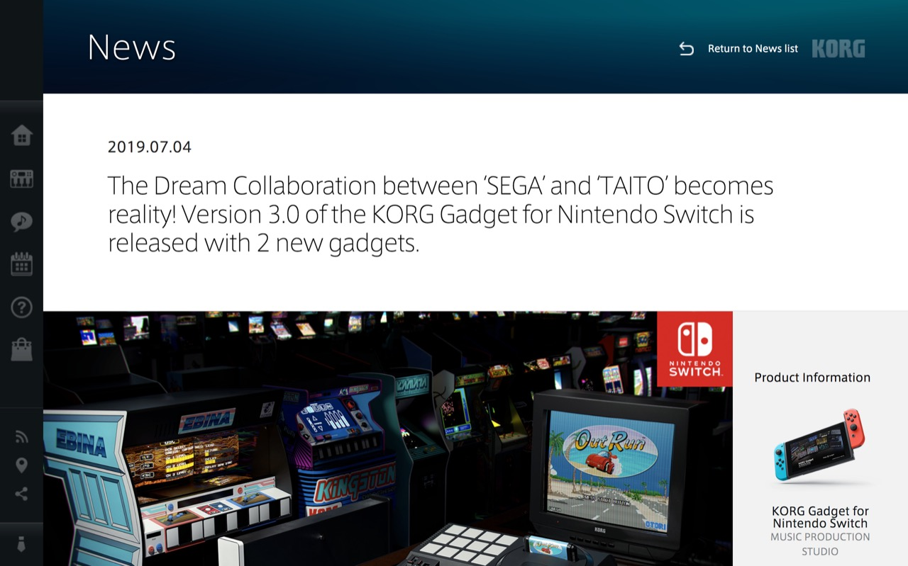 News | The Dream Collaboration between 'SEGA' and 'TAITO' becomes reality! Version 3.0 of the KORG Gadget for Nintendo Switch is released with 2 new gadgets. | KORG (USA)