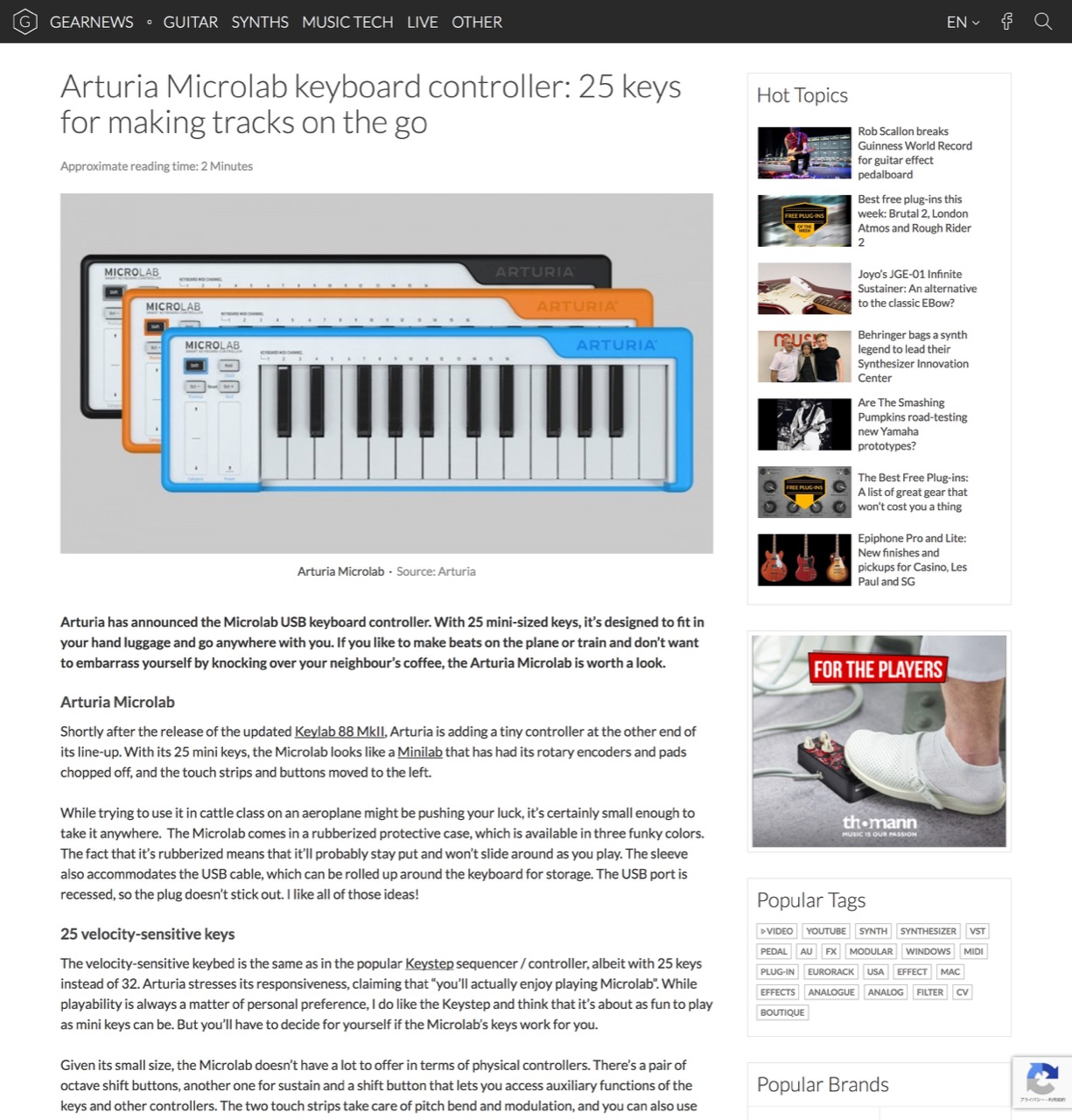 Arturia Microlab keyboard controller: 25 keys for making tracks on the go - gearnews.com