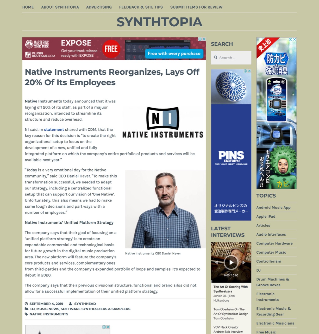 Native Instruments Reorganizes, Lays Off 20% Of Its Employees – Synthtopia