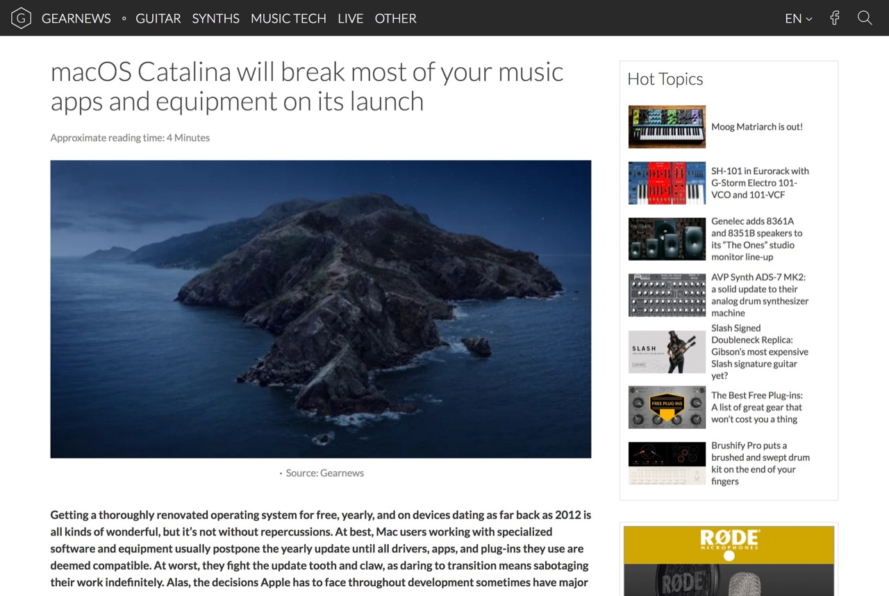 macOS Catalina will break most of your music apps and equipment on its launch - gearnews.com