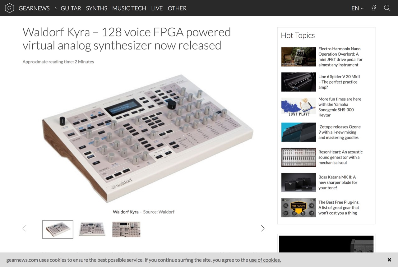 Waldorf Kyra - 128 voice FPGA powered virtual analog synthesizer now released - gearnews.com