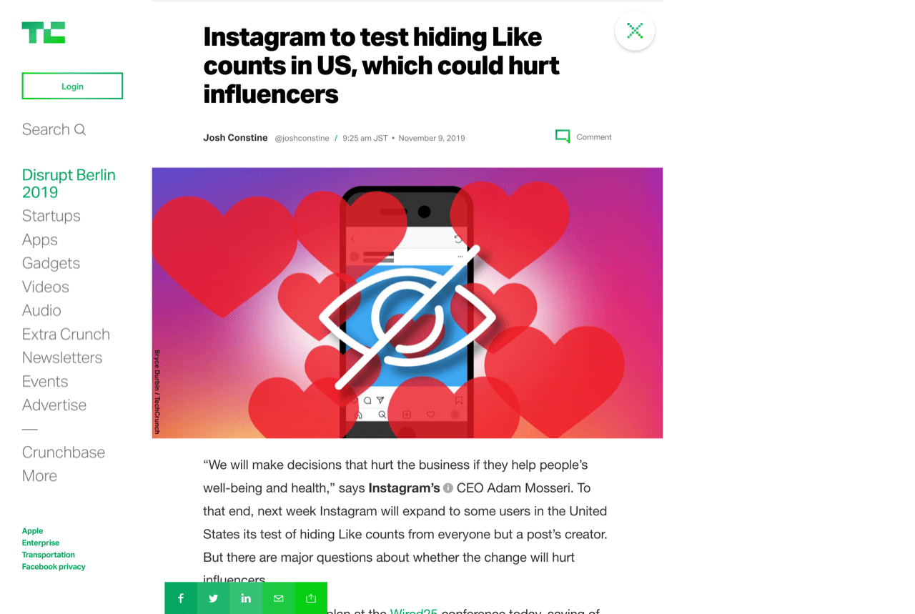 Instagram to test hiding Like counts in US, which could hurt influencers | TechCrunch