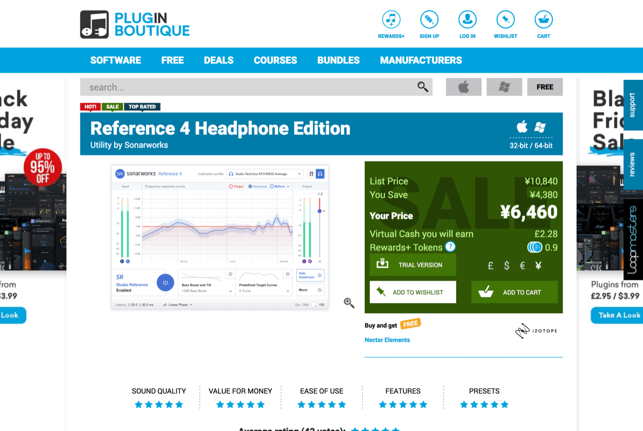 "Sonarworks ""Reference 4 Headphone Edition""(Plugin Boutique)"