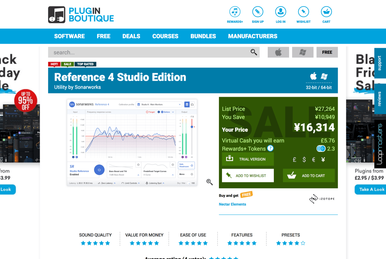 "Sonarworks ""Reference 4 Studio Edition""(Plugin Boutique)"