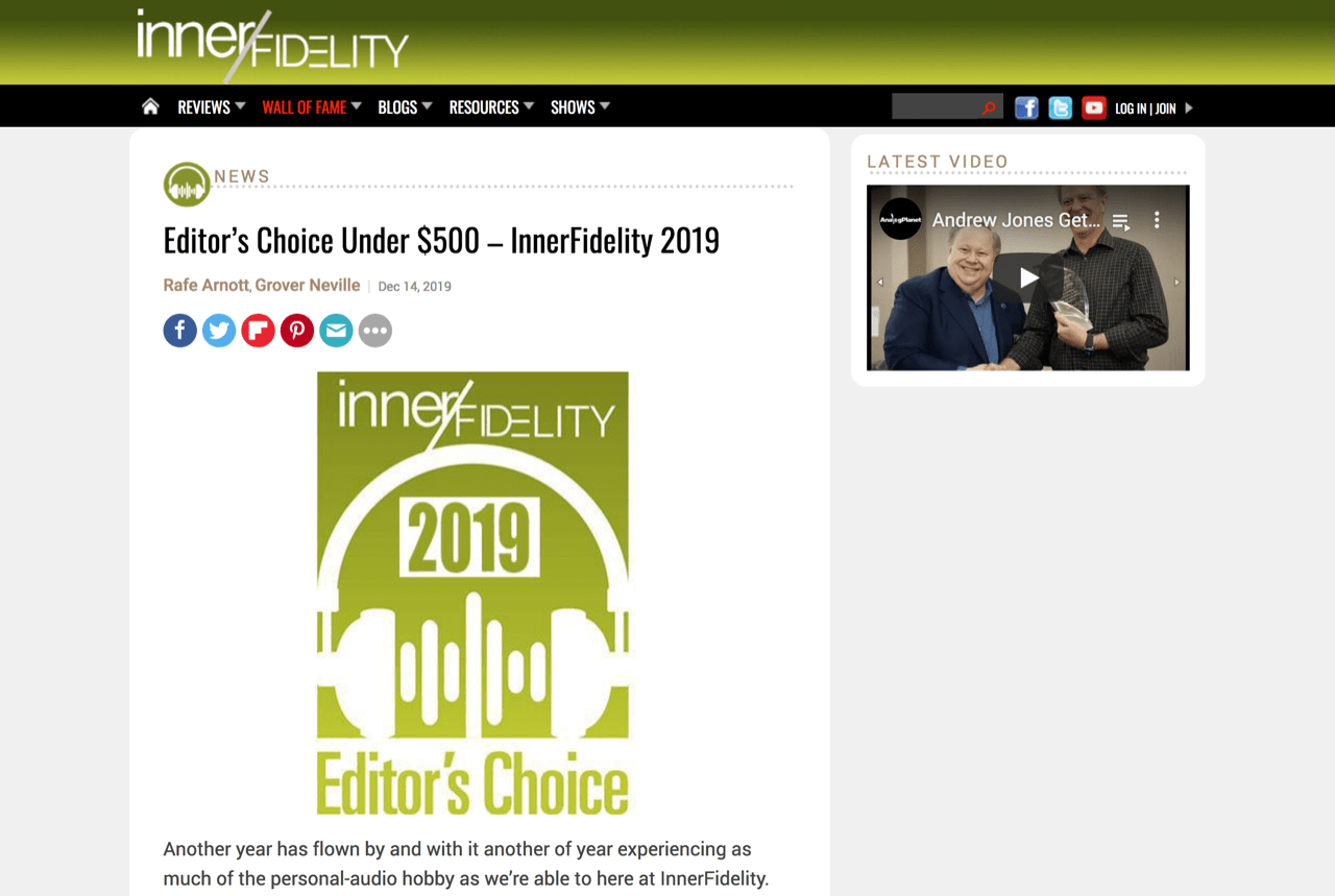 Editor's Choice Under $500 – InnerFidelity 2019 | InnerFidelity