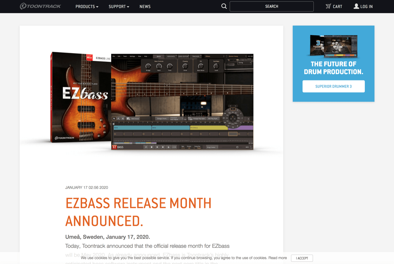 EZbass release month announced.   Toontrack