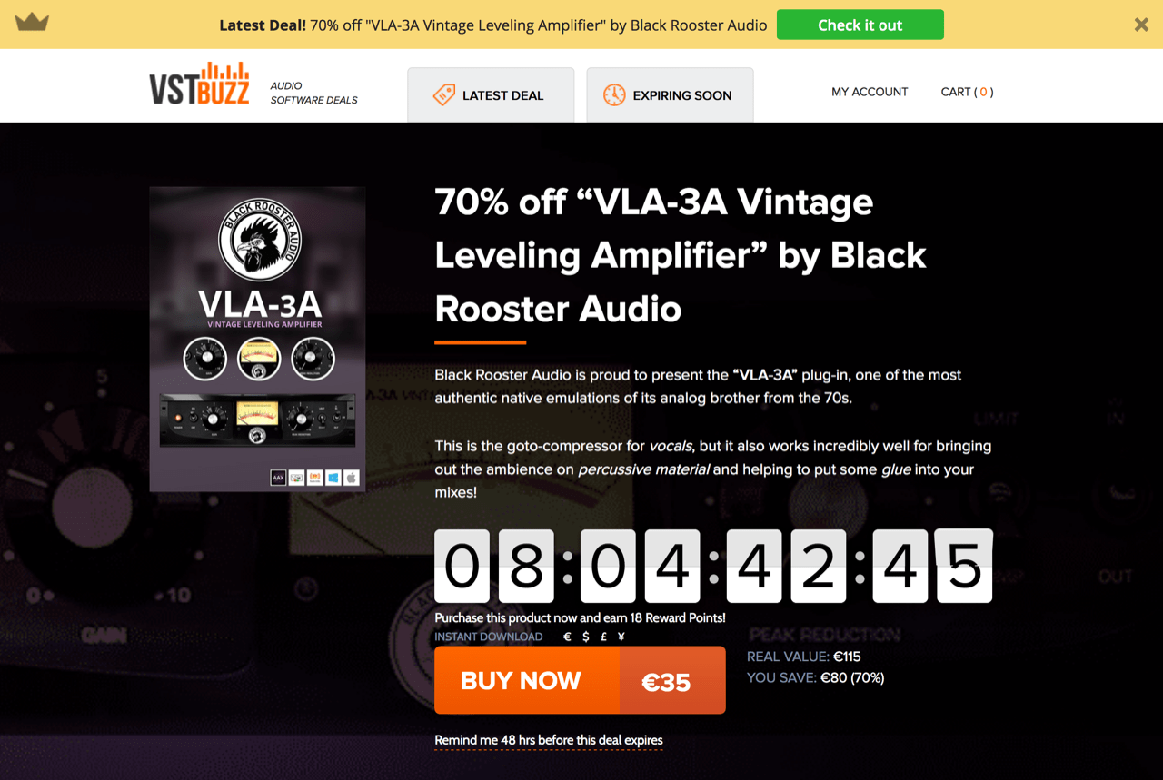 "70% off ""VLA-3A Vintage Leveling Amplifier"" by Black Rooster Audio"