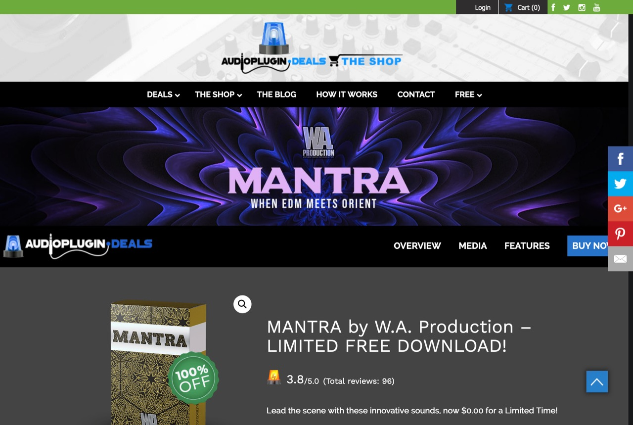 LIMITED FREE DOWNLOAD - MANTRA by W.A. Production - Audio Plugin Deals
