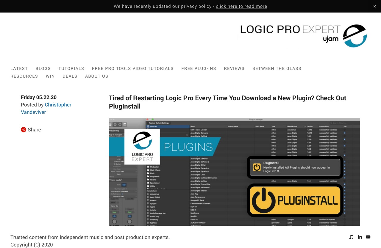 Tired of Restarting Logic Pro Every Time You Download a New Plugin? Check Out PlugInstall | Logic Pro