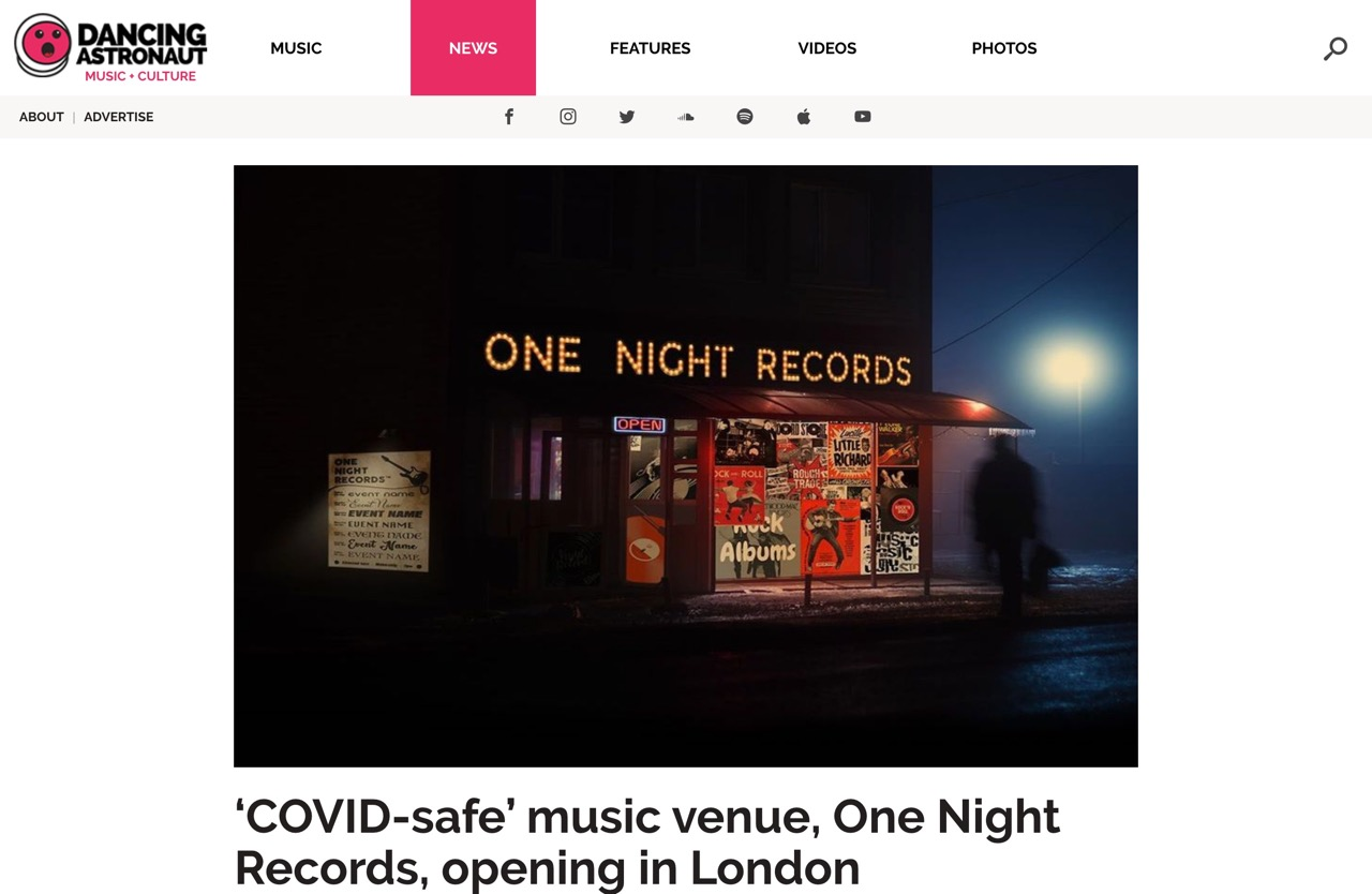 'COVID-safe' music venue, One Night Records, opening in London : Dancing Astronaut