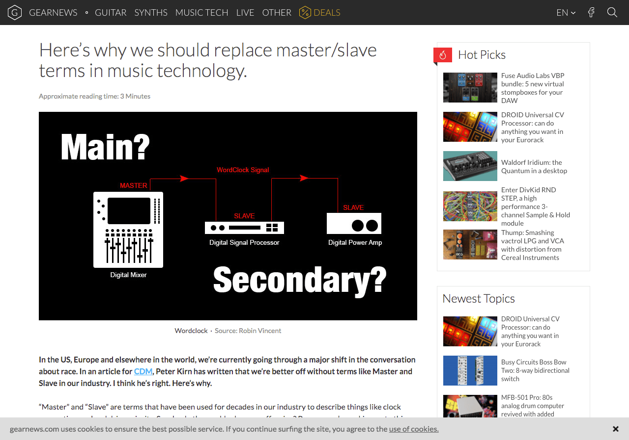 Here's why we should replace master/slave terms in music technology. - gearnews.com
