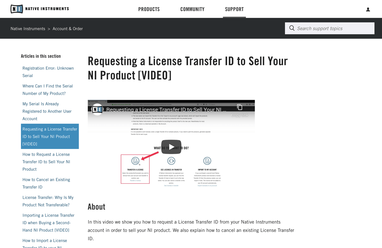 Requesting a License Transfer ID to Sell Your NI Product [VIDEO] – Native Instruments