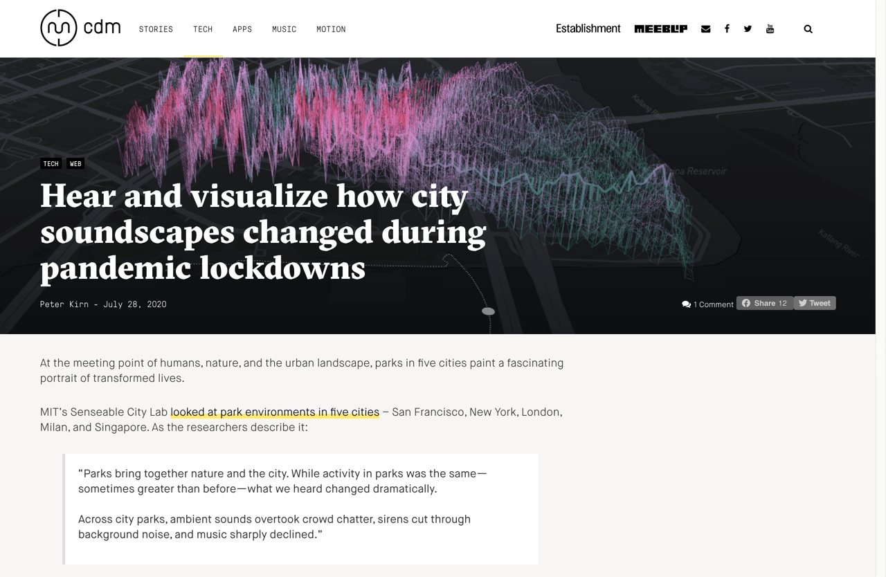 Hear and visualize how city soundscapes changed during pandemic lockdowns - CDM Create Digital Music