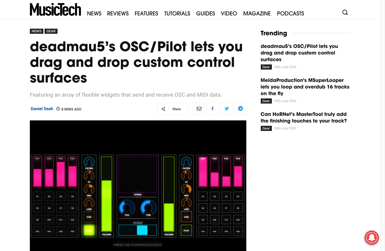 deadmau5's OSC/Pilot lets you drag and drop custom control surfaces | MusicTech