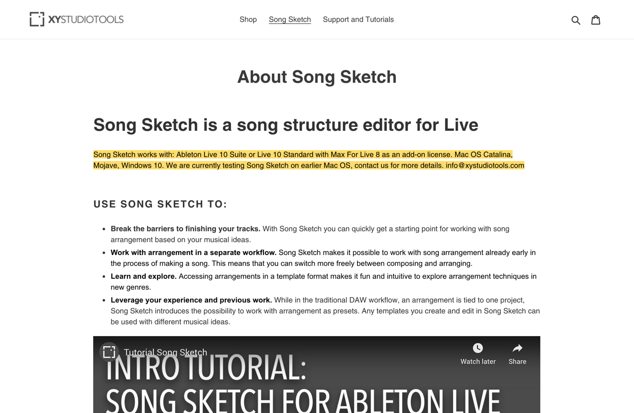 About Song Sketch – XY StudioTools
