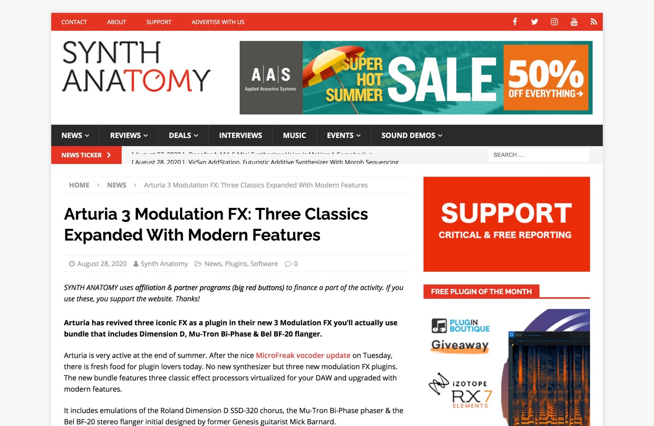 Arturia 3 Modulation FX: Three Classics Expanded With Modern Features