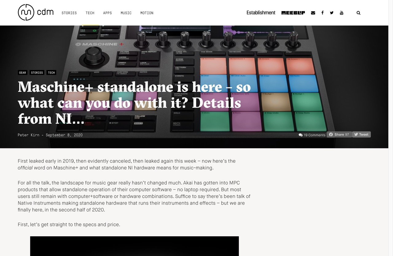 Maschine+ standalone is here - so what can you do with it? Details from NI... - CDM Create Digital Music